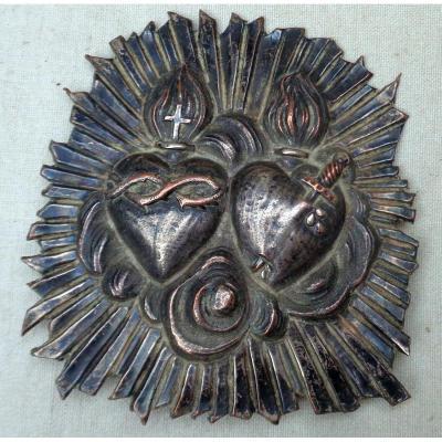 Plaque de baudrier en cuivre argenté à l'image du coeur sacré de Jésus