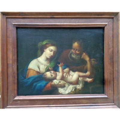 Tableau du début du XVIIIéme siècle. Hsp.  Marie, Joseph et l'enfant