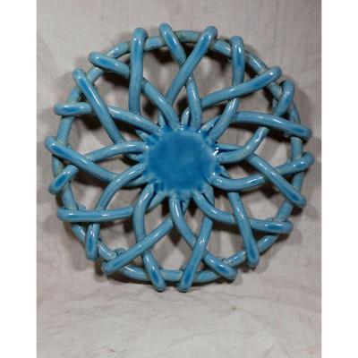 Corbeille à fruits, vintage, des poteries d'Accolay, montée au boudin. Bleu turquoise.