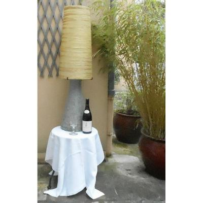 Grande lampe d'ambiance, vintage, en poterie d'Accolay des années 60.
