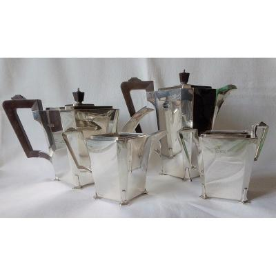 Service à café et thé art déco argent massif anglais
