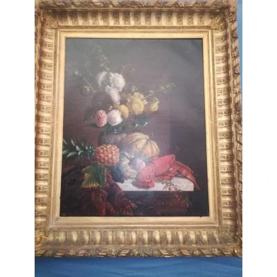 Still Life With Lobster By F Alexandre Delaunay Circa 1850