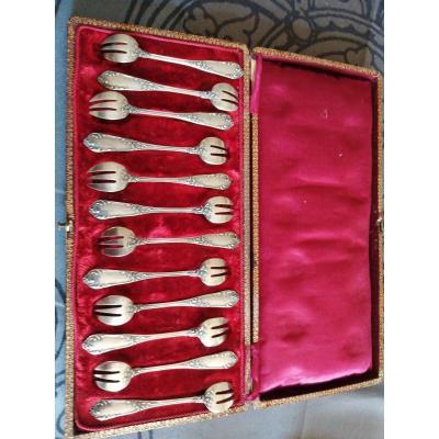 12  Fourchettes à Huître 19 ème Argent Poinçon Minerve