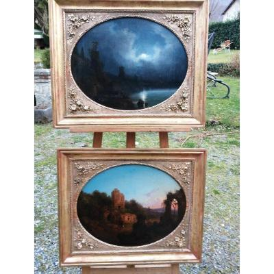 Paire De Paysage Romantiques  (huile Sur Toile)