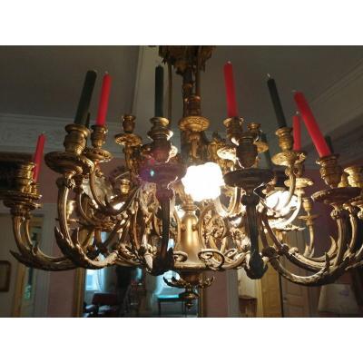 Exceptionnel Lustre 41  Lumières En Bronze Doré Louis 16 époque 1880