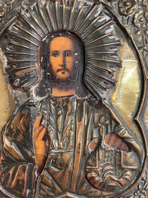 Icone Russe Représentant Le Christ Pantocrator -  XIX ème-photo-2