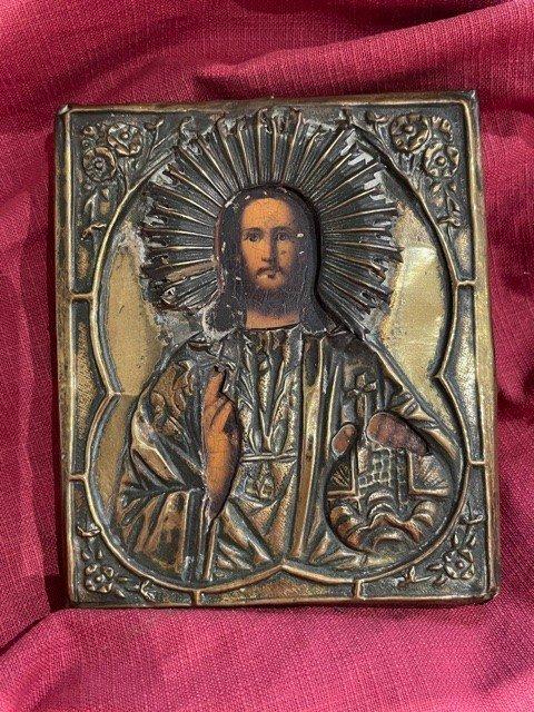 Icone Russe Représentant Le Christ Pantocrator -  XIX ème