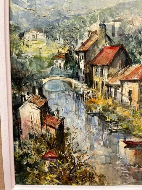 Table Oil On Canvas Lucien Delarue 1925 - 2011-photo-2