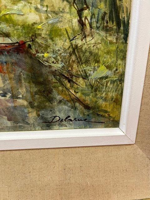 Table Oil On Canvas Lucien Delarue 1925 - 2011-photo-3