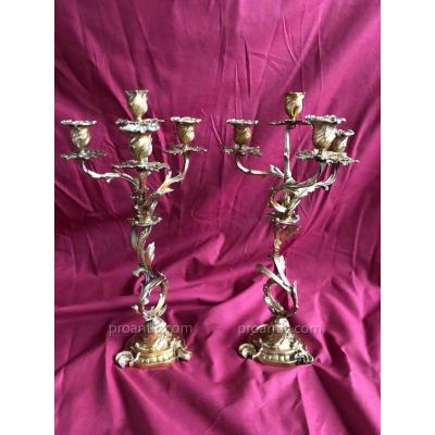 Pair Candelabra Chandelier Louis XV Bronze