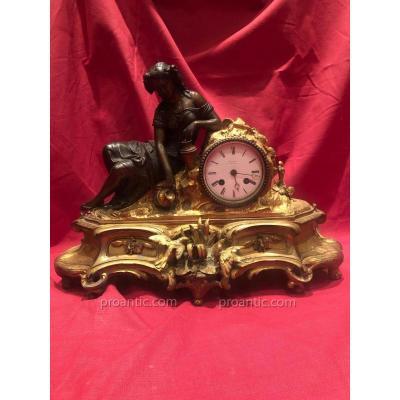 Pendule Bronze Dore Napoleon III