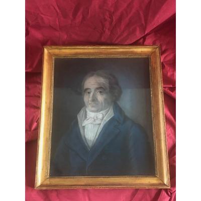 Tableau Pastel Portrait Homme De Qualité XVIII ème