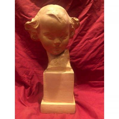 Buste d'Enfant En Terre Cuite Amédéo Gennarelli 1881-1943