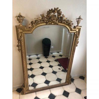 Grand Miroir De Cheminée En Bois Et Stuc Doré d'époque Napoléon III