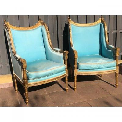 Pair Of Louis XVI Armchairs Ears From XIX