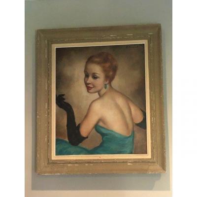 Tableau Toile Georgette Nivert Protrait d'Elegante