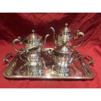 Service A The Et Cafe En Metal Argente Ercuis Style Louis XV