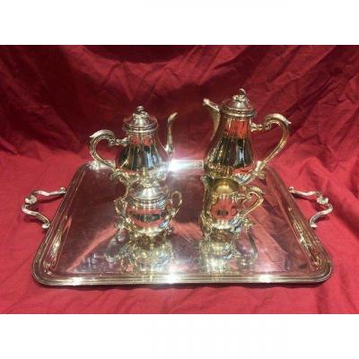 Service A The Et Cafe En Metal Argente Christofle Style Louis XV MARLY