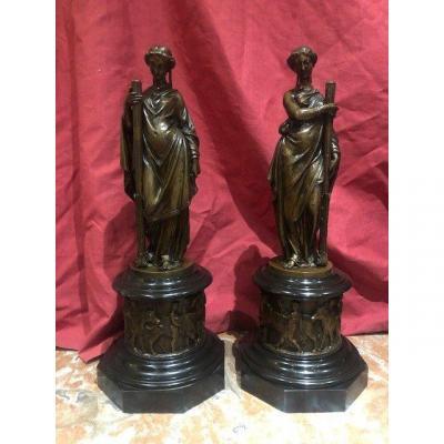 Paire Flambeaux Statue Bronze Allegorique XIX Eme