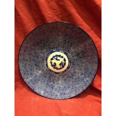 Imposant Plat Porcelaine De Chine XIX Eme