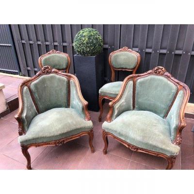 Set Armchairs Chairs Louis XV Rocaille XIX Eme