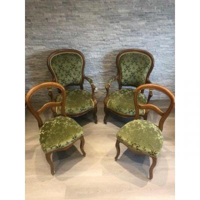 Pair Of Louis XV Armchairs Chairs In Golden Wood From XIX