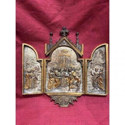 Reliquary Triptych In Bronze