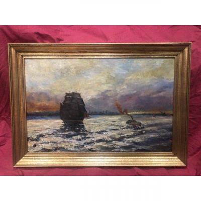 Large Marine Table Oil On Canvas XIX Eme