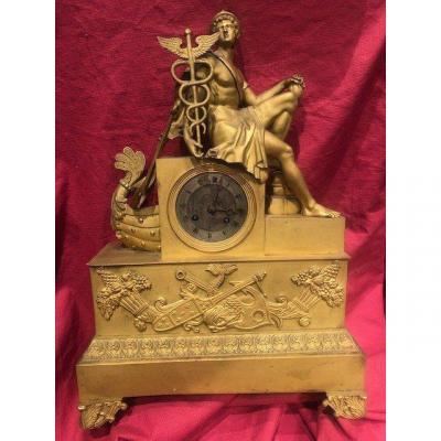 Imposing Hermes Mythological Clock Bronze Dore Empire