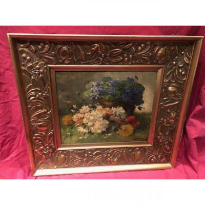 Table Oil On Canvas P. Valmont Alias Eugene Henri Cauchois 1850-1911