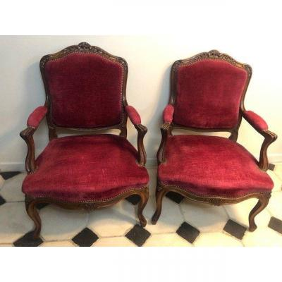 Pair Of Louis XV Style Armchairs In Walnut From XIX