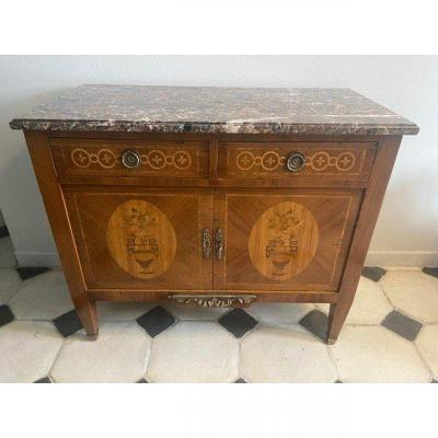 Low Buffet Louis XVI Style In Marquetry XIX Eme