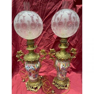 Paire De Grande Lampe En Bronze Doré Porcelaine De Canton XIX ème