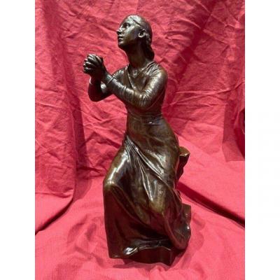 Bronze Sculpture Paul Dubois 1829-1905 And Barbedienne - The Faith XIX