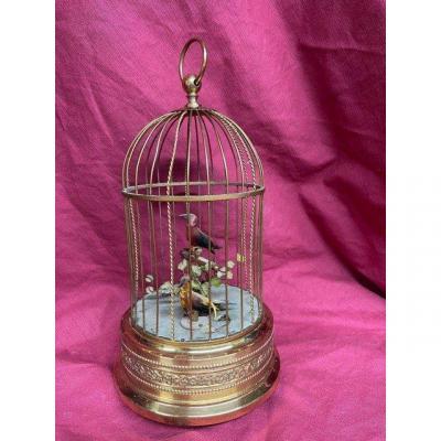 Automate Cage à Oiseaux Musicale En Métal Doré