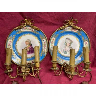 Paire d'Appliques Murales En Porcelaine De Sevres Bronze Doré XIX ème
