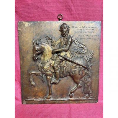 Plaque En Bronze Comtesse Valentine De Biencourt (1839-1929) Henri De Montmorency à Cheval