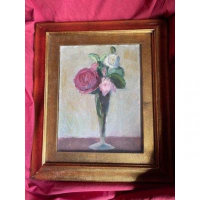 Tableau Huile Sur Toile Bouquet De Fleurs Galerie Salvetti Milano