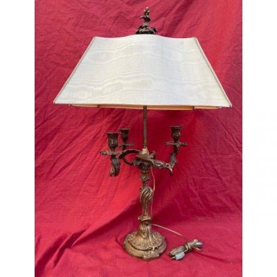 Lampe Bougeoir 3 Feux En Bronze De Style Louis XV