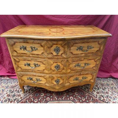 Alsatian Curved Commode XVIII Eme Louis XV Marquetry