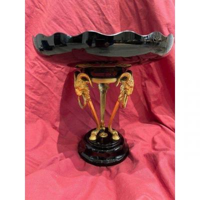 Coupe Bronze Doré Cristal Napoleon III Tête Bélier