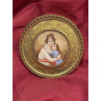 Portrait Miniature Peint Sur Ivoire Représentant Une Femme Et Son Enfant XIX ème Napôléon III
