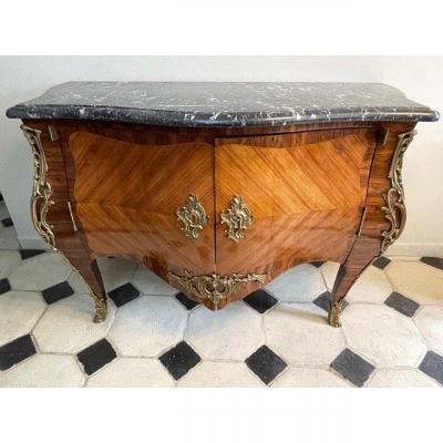 Rare Imposante Commode à Vantaux En Marqueterie Louis XV XIX ème