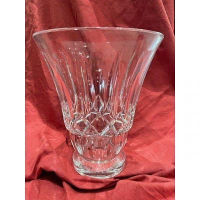 Imposant Vase Taillé En Cristal De Baccarat
