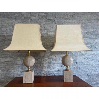 Paire De Lampes En Travertin Par Philippe Barbier Design 1970