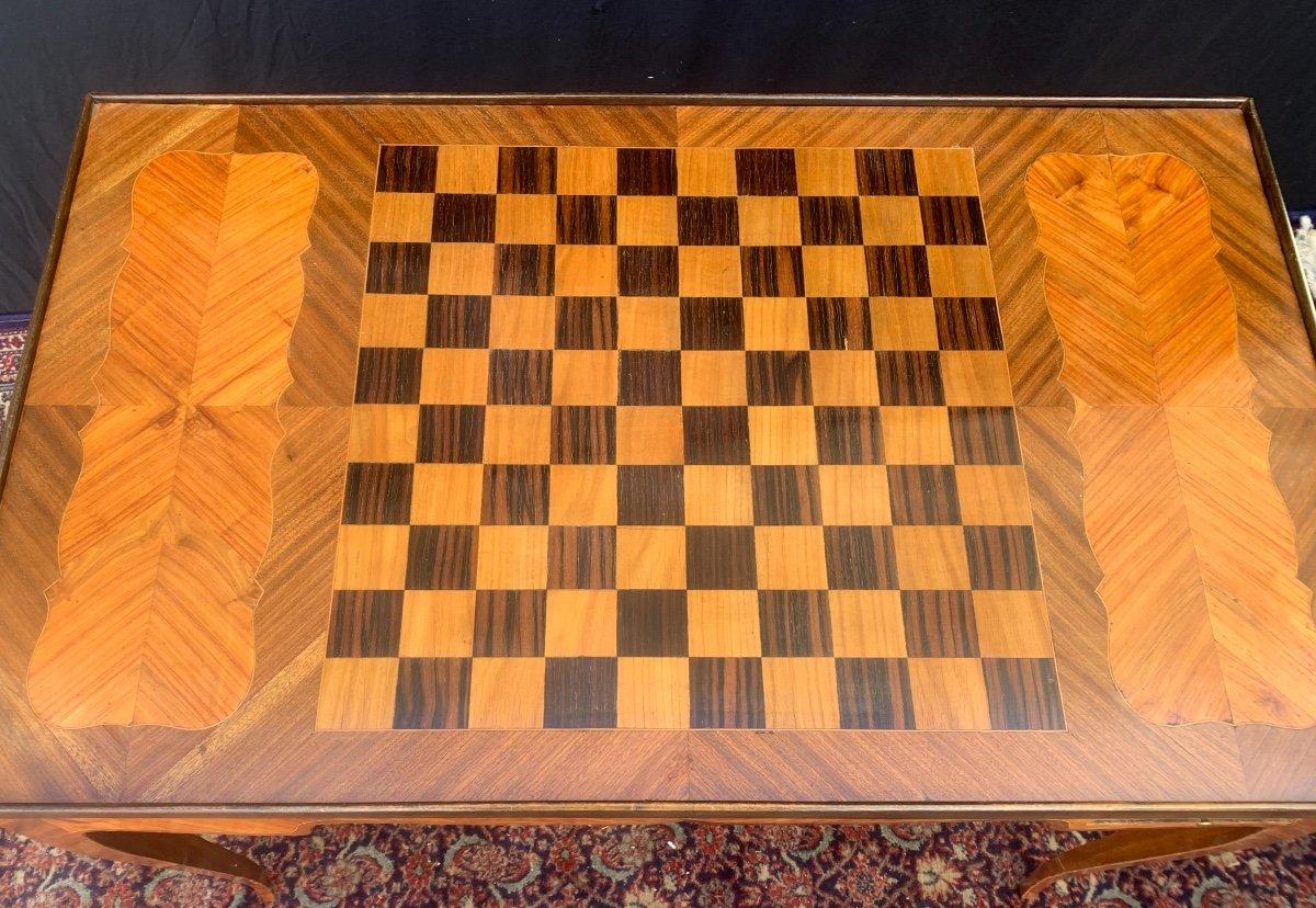 Table tric - trac en marqueterie d'époque louis XV-photo-1