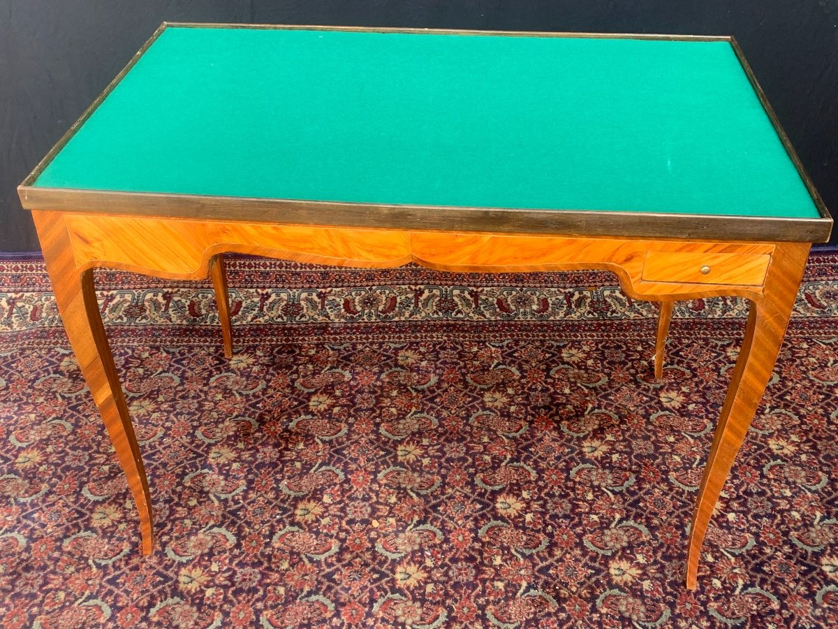 Table tric - trac en marqueterie d'époque louis XV-photo-2
