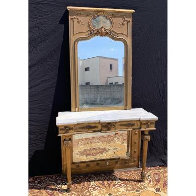Console Louis XVI Golden Wood And Trumeau