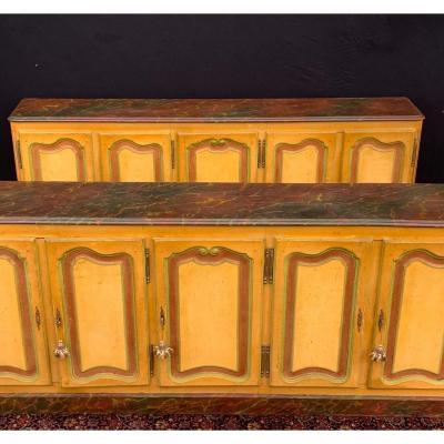 Pair Of Sideboards Five Doors In Provençal Painted Wood