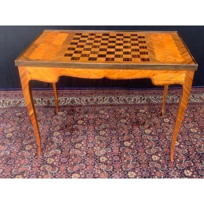 Table tric - trac en marqueterie d'époque louis XV